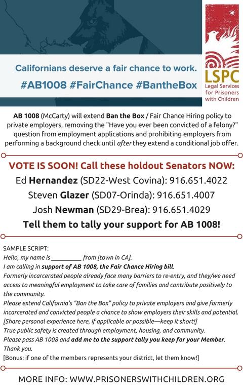 AB1008 - Call Flyer3 - targeted senators - 12ix17